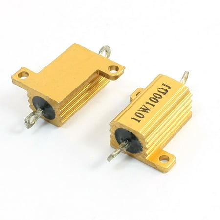 2 Pcs 10Watt 100 Ohm Gold Tone Aluminum Housed Clad Wirewound Resistor - image 1 of 1
