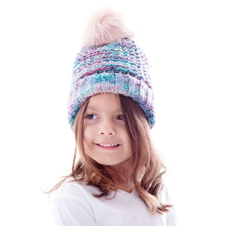 edd9513c784 BASILICA - Toddler Winter Hat Cable Knit Pom Pom Beanie Cap for Kids - Red  Blue - Walmart.com
