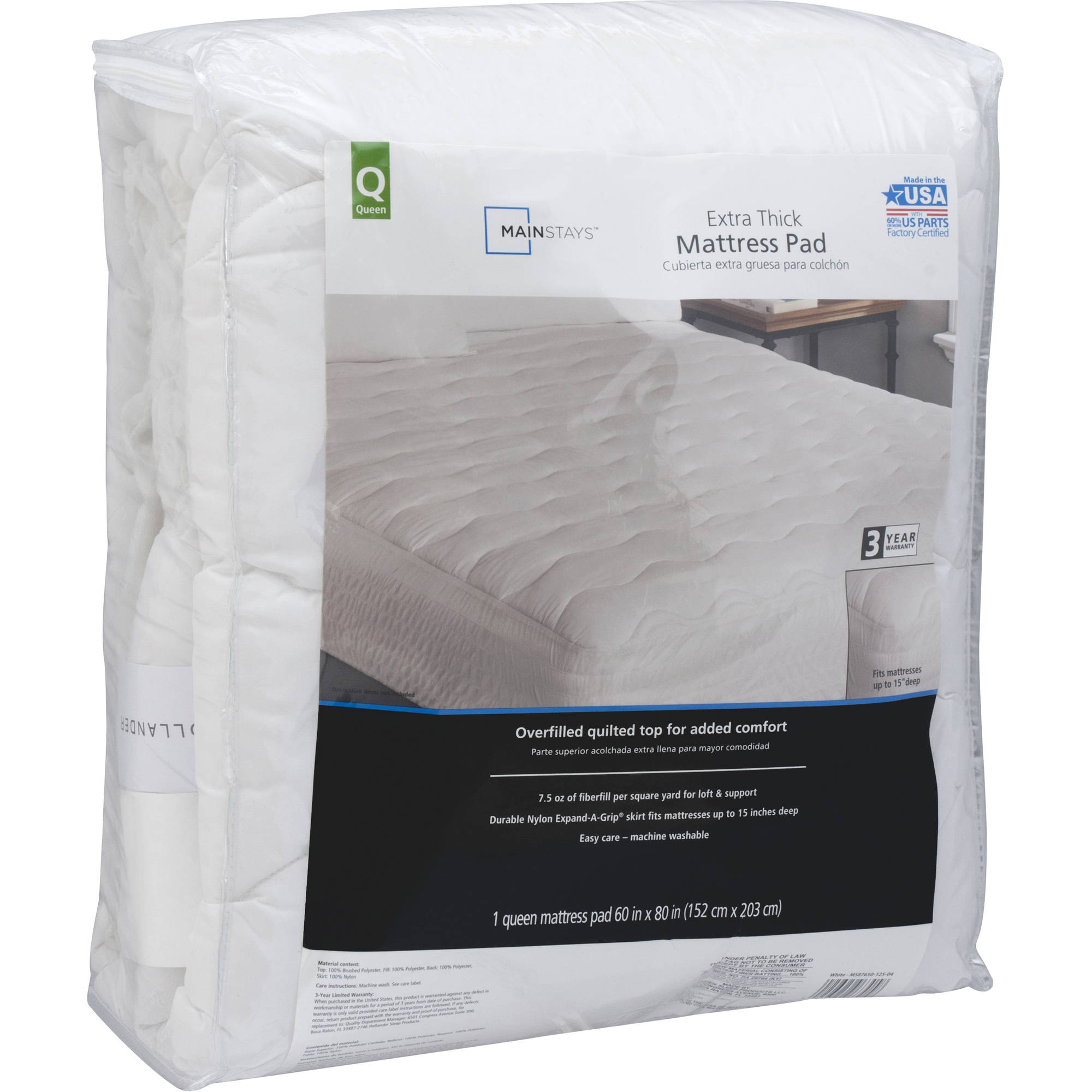 mainstays extrathick mattress pad 75 oz multiple sizes