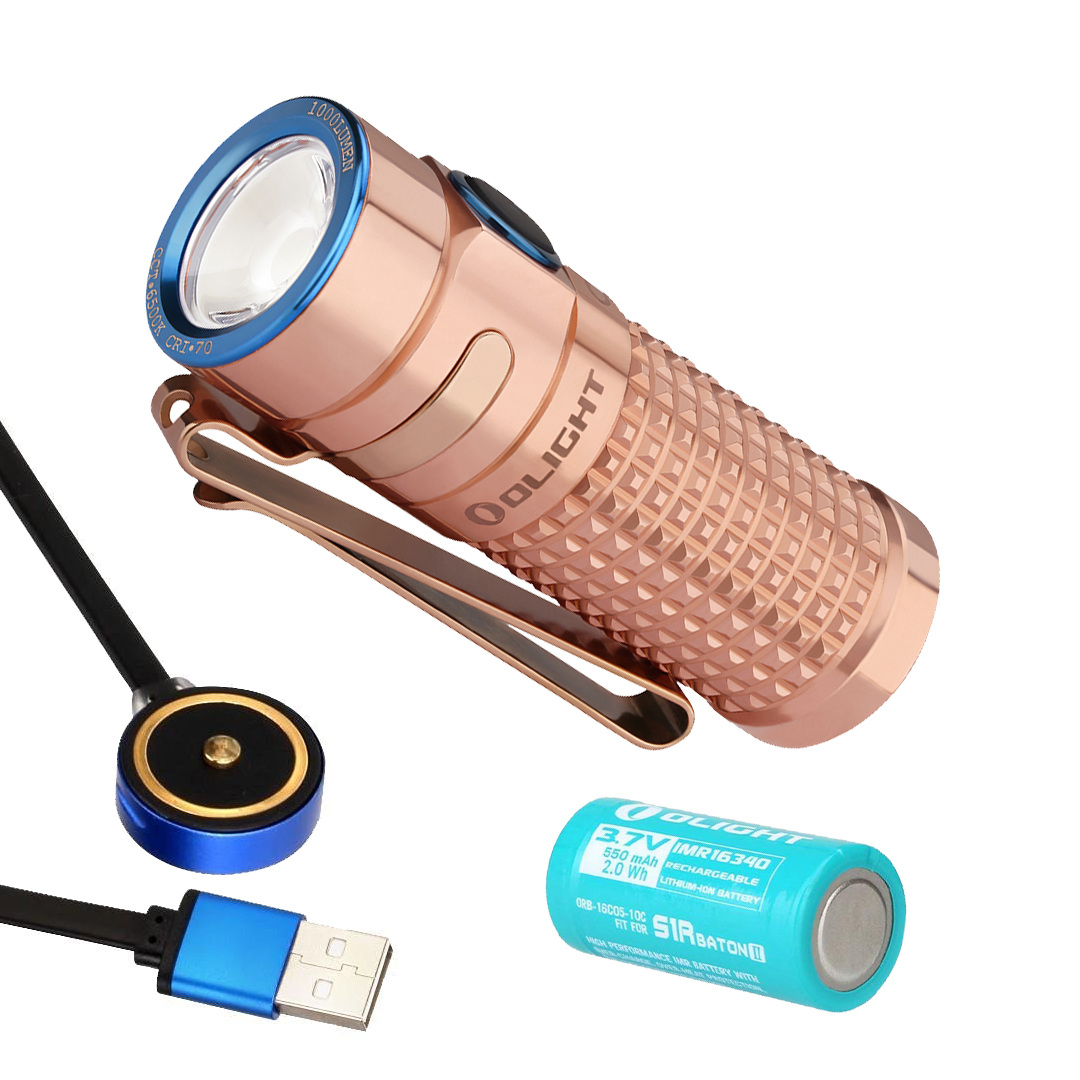 Olight S1R Baton II Copper Limited Eternal Edition 1000 Lumen Rechargeable EDC Flashlight