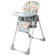 Chaise haute pour bébé avec panier, chaise haute rehausseur pour tout-petits, hauteur d'assise réglable à 6 positions, plateau à nourriture réglable à 3 positions
