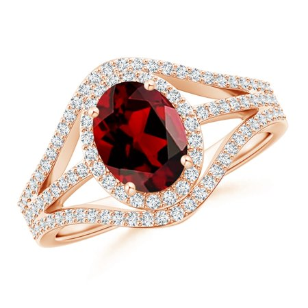 Valentine Jewelry Gift - Triple Shank Oval Garnet and Diamond Halo Ring in 14K Rose Gold (8x6mm Garnet) - SR1090GD-RG-AAAA-8x6-9.5