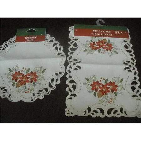 Tapestry Trading FQ32187-16-2PK 16 in. Embroidered Christmas Tri Poinsettia Cutwork Placemats](Trading Christmas Cast)