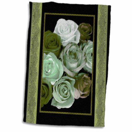 Khaki Olive Green - 3dRose Dreamy hues of mint olive and khaki roses with olive green damask ribbon trim - Towel, 15 by 22-inch