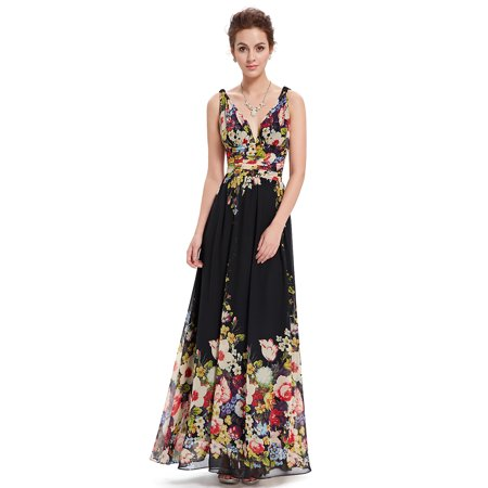Ever-Pretty Women's Elegant Long V-Neck Sleeveless Semi-Formal Evening Prom Party Bridesmaid Maxi Dresses for Women 09016 (Floral 4 - Floral Occasion Dress
