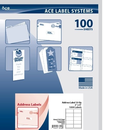 ACE WHITE ADDRESS LABELS 100 SHEETS 2 X 4 37600L