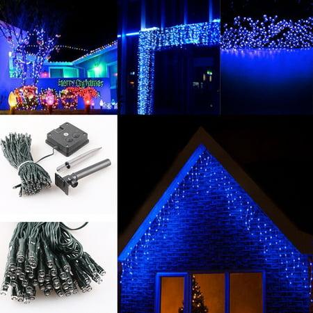 blue 22m waterproof 200 led solar powered string light xmas christmas
