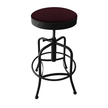910 Industrial-Adjustable Stool with Black Wrinkle Finish and Canter Bordeaux (Bordeaux Veneer Finish)