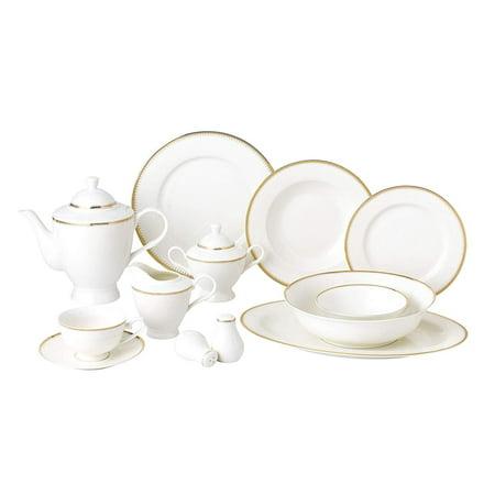 Mikasa China Patterns (Royalty Porcelain Vintage Gold Pattern 57-pc Dinnerware Set 'Royal Gold', Premium Bone)