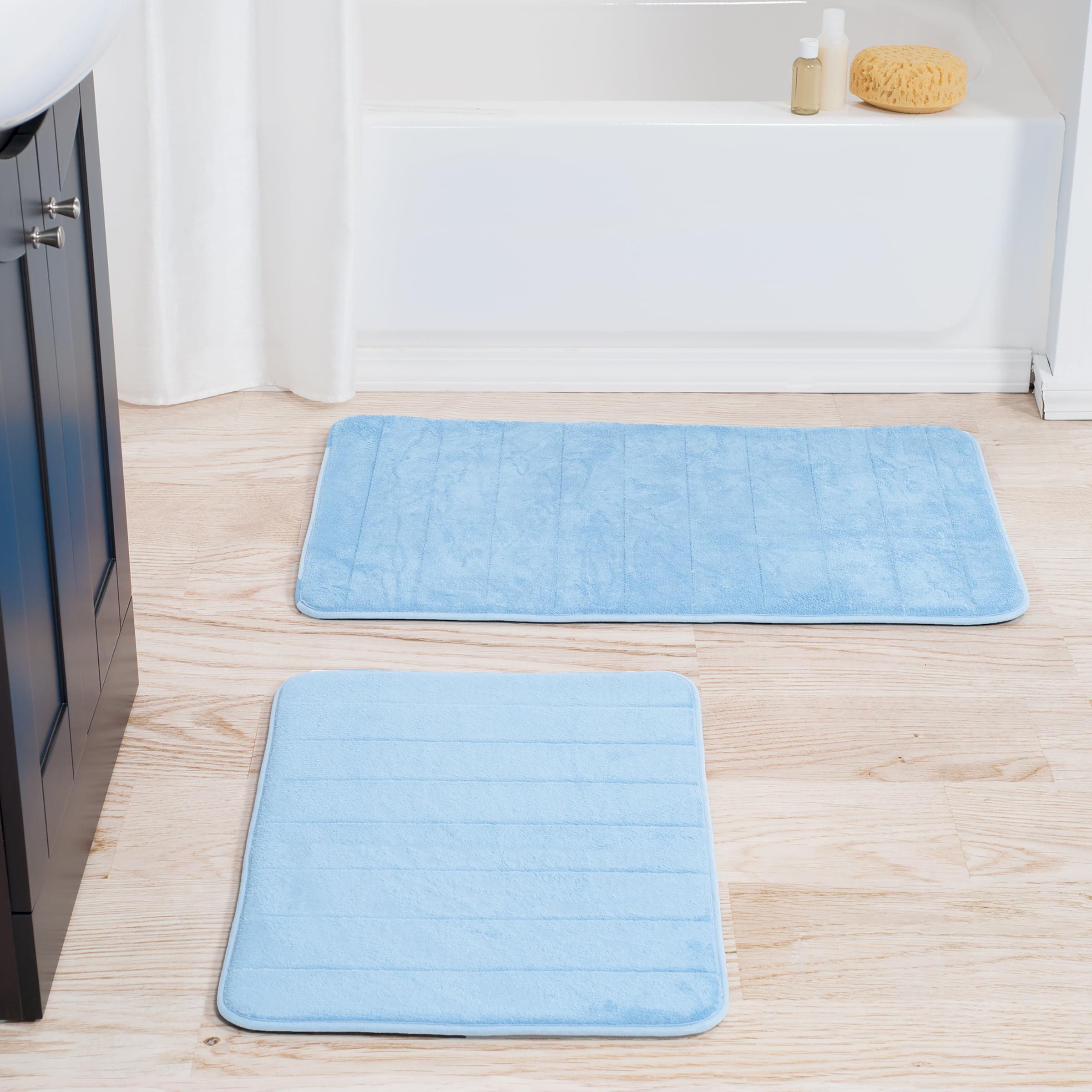 Somerset Home 2-Piece Memory Foam Striped Bath Mat Set