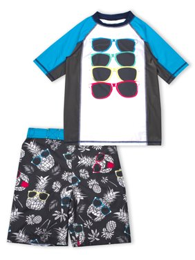 678c8f595f04 Product Image Pineapple Print Rash Guard and Swim Trunk