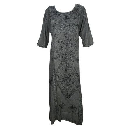 Mogul Womens Shift Tunic Maxi Dress Enzyme Wash Rayon Comfy Embroidered Free Spirit (Rayban Collection)