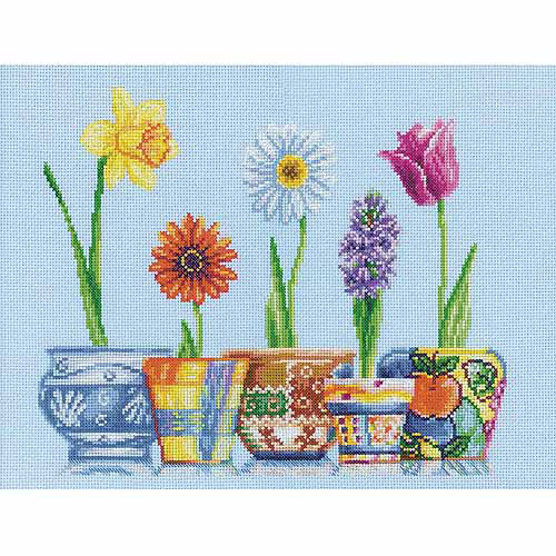 """RTO Flower Pots Counted Cross-Stitch Kit, 13-3/4"""" x 11"""", 14 Count"""