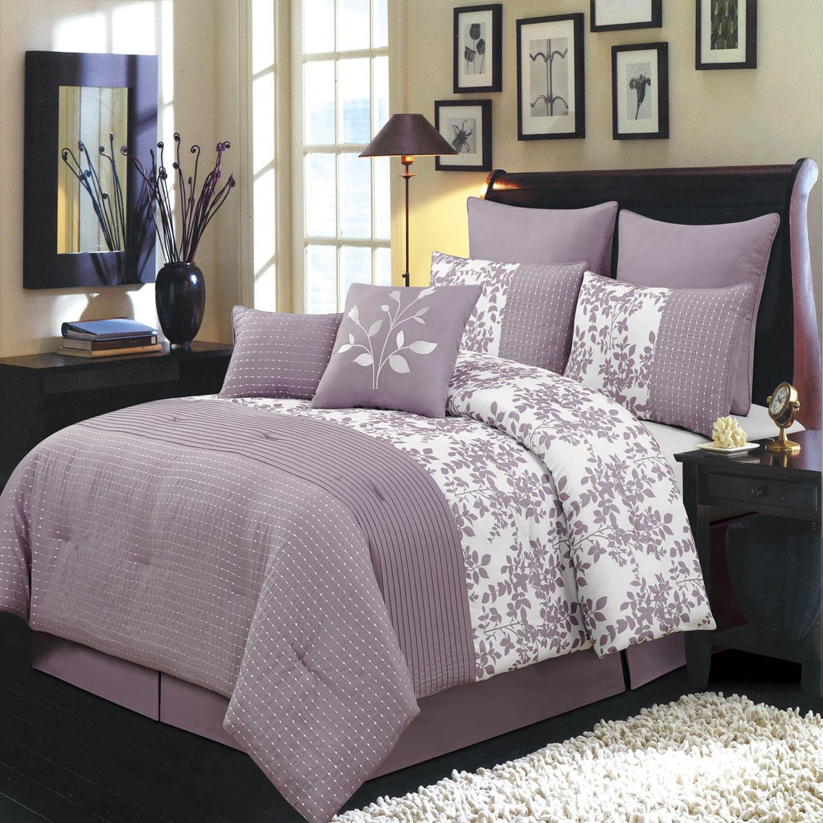 Bliss 8-Pieces Bed in a Bag Set Includes Comforter Skirt Shams and Pillows