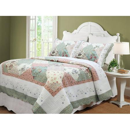 Flower Exposition 100% Hypoallergenic cotton Patchwork 2 piece Quilt Set Bedroom Quilt Bedding Twin size Coral