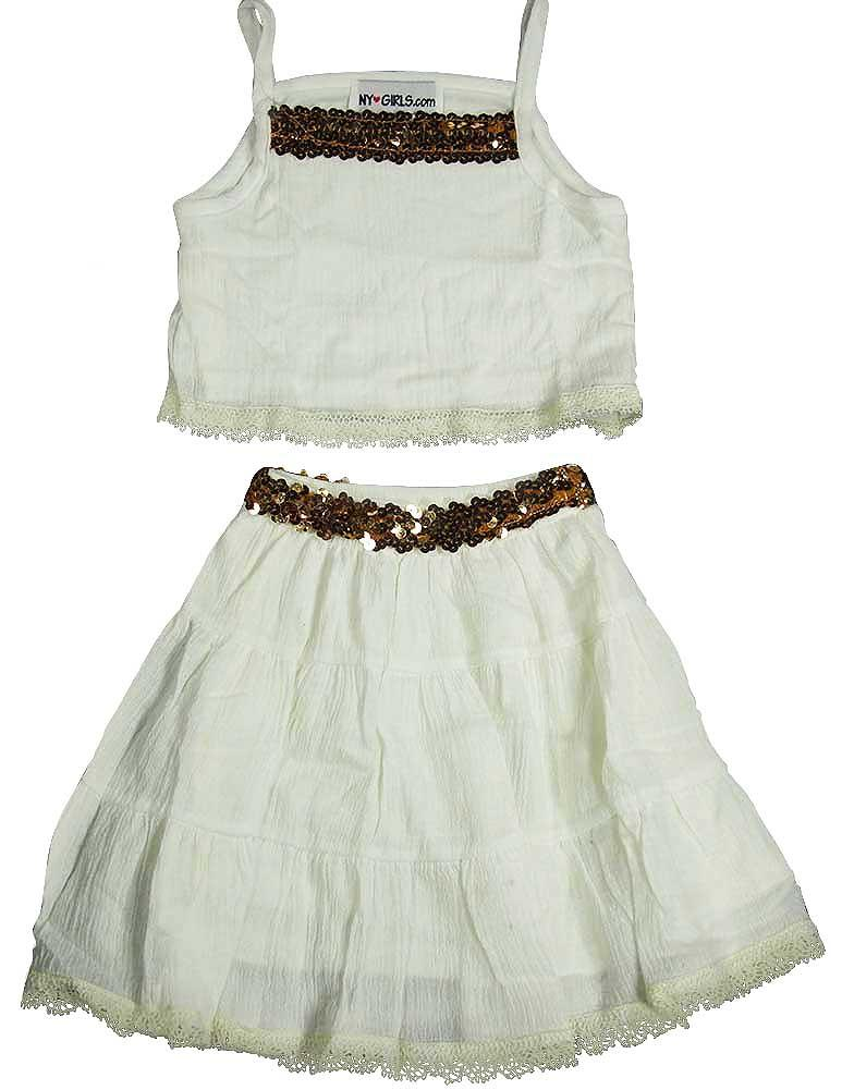 NY Girls.com - Little Girls Crepe 2 Piece Skirt Set Black/Gold / 4