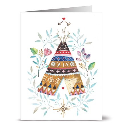 24 Note Cards - TeePee in the Trees - Blank Cards - Kraft Envelopes (Palm Tree Note Card)