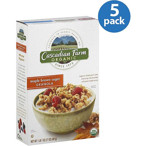 Cascadian Farm Organic Maple Brown Sugar Granola Cereal, 17 oz, (Pack of 5)