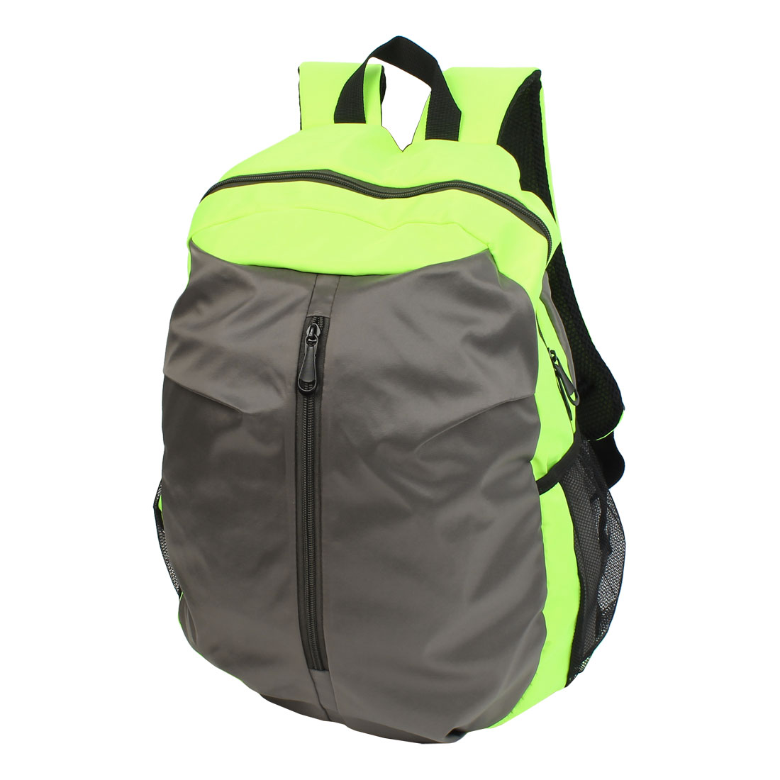 Adjustable Double Shoulder Strap Zip Closure Backpack Shoolbag Yellow Green Gray