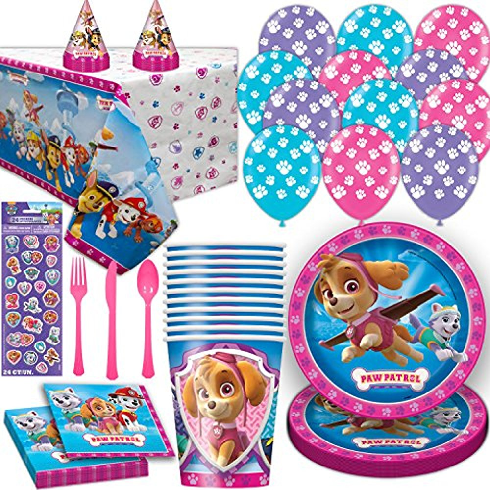 Paw Patrol Girls Party Supplies for 16. Includes Plates, Cups, Napkins, Tablecloth, Stickers, Balloons, Cutlery, Birthday Hat. Pink and Purple Theme Dinnerware Decoration and Favors