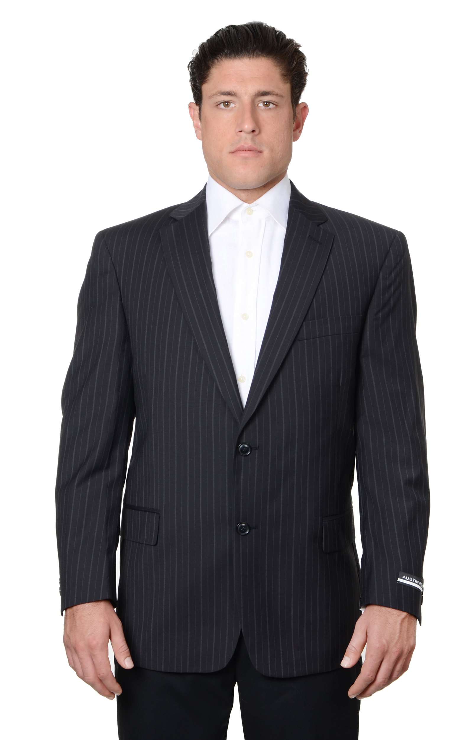 Austin Reed Austin Reed Mens Pure Wool Striped Suit Separate Coat Extra Long Black Walmart Com Walmart Com