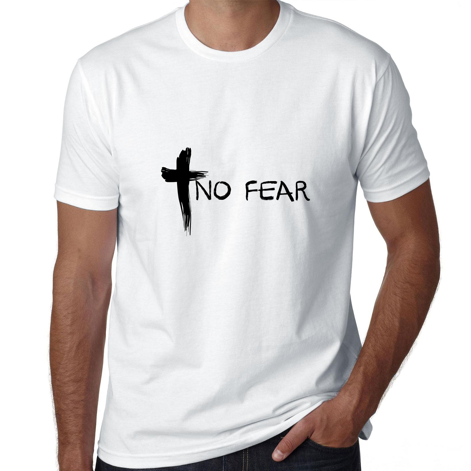 Christian No Fear Graphic Cross Inspiring Men's T-Shirt