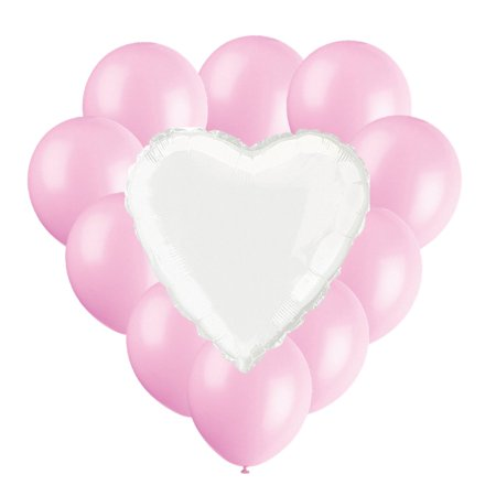 Valentines Day Balloon Bouquet, White & Light Pink, 11ct](Valentine's Day Balloons)