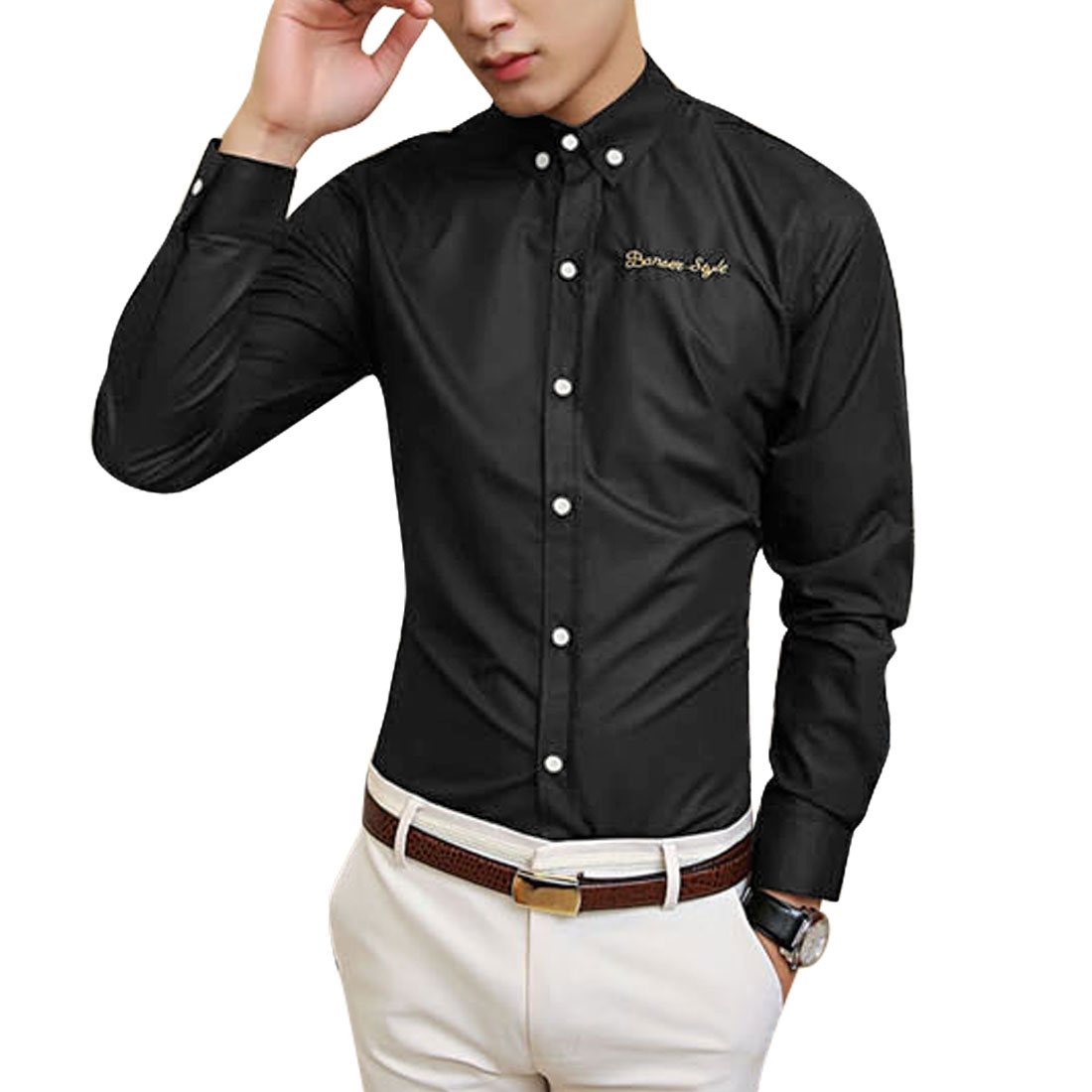Azzuro Men's Button Cuffs Embroidery Letters Detail Casual Shirt Black (Size M / 40��