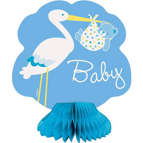 Mini Honeycomb Blue Stork Baby Shower Decorations, 4pk
