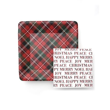 George Stanley  Holiday Plaid And Christmas Plates With Napkins - Plaid Paper Plates