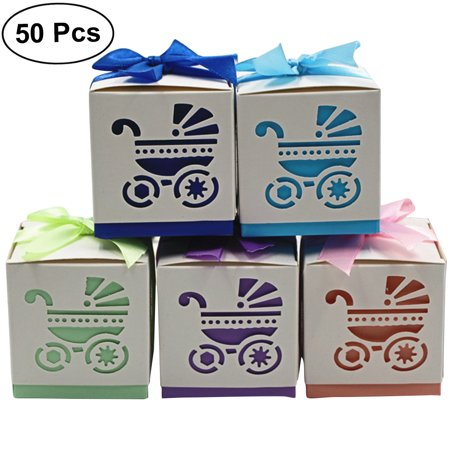 50pcs Babys First Birthday Favor Boxes Hollowed Out Craft Paper Box For Gifts Candy Sweets With Ribbons Random Pattern