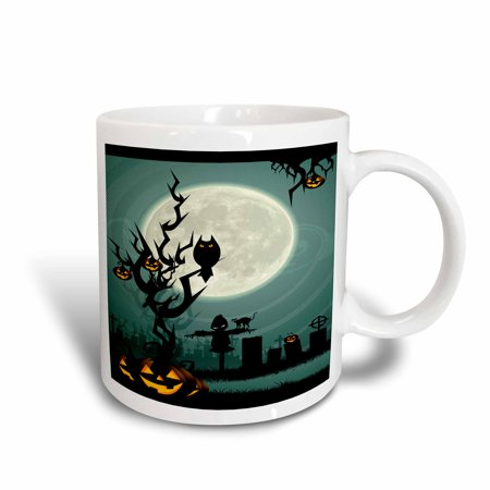 3dRose A Scary Halloween Scene With A Pumpkin, Haunted Tree Under A Big White Moon, Ceramic Mug, 11-ounce](Halloween Scary Pumpkin Makeup)