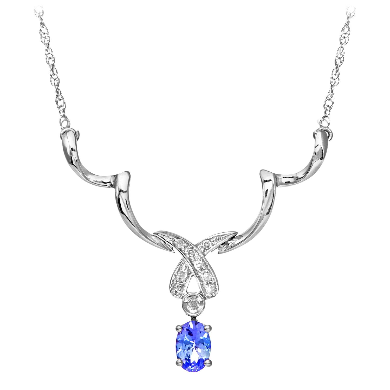 9ct White Gold Tanzanite and Diamond Kiss Necklace by Revoni