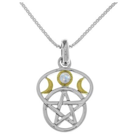 - Sterling Silver Moon Goddess Pentacle Pendant with Moonstone on 18 Inch Box Chain Necklace
