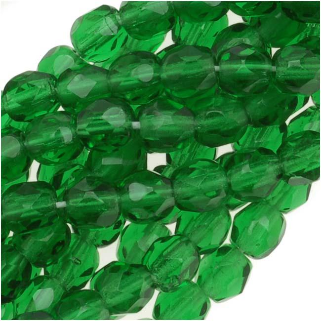 Czech Fire Polished Glass Beads 4mm Round Emerald (50)
