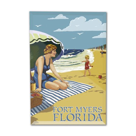 Fort Myers Beach, Florida - Woman on Beach - Lantern Press Artwork (4x6 Acrylic Photo Block Gallery (For Women Fort Myers)