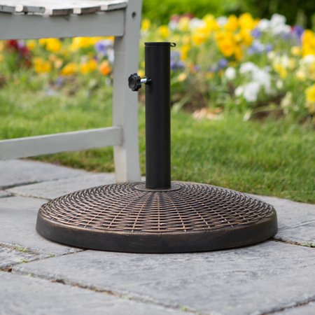 Manor Park Wicker Style Round Outdoor Patio Umbrella Base- Antique Bronze