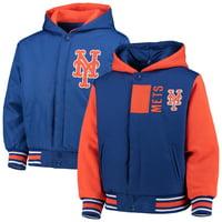 New York Mets JH Design Youth Reversible Poly-Twill Hoodie Jacket - Royal/Orange