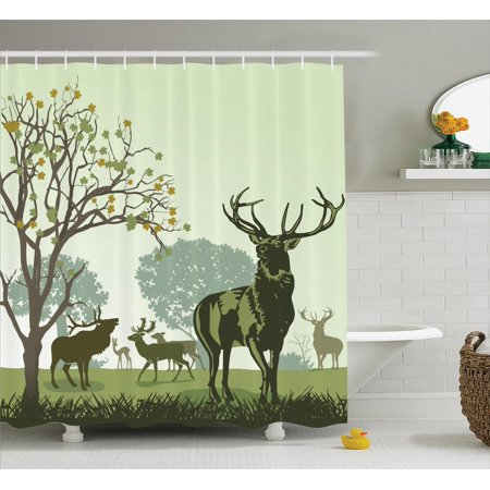 Antlers Decor Shower Curtain Set, Deer And Wildlife In Park World Natural Heritage Forest Areas