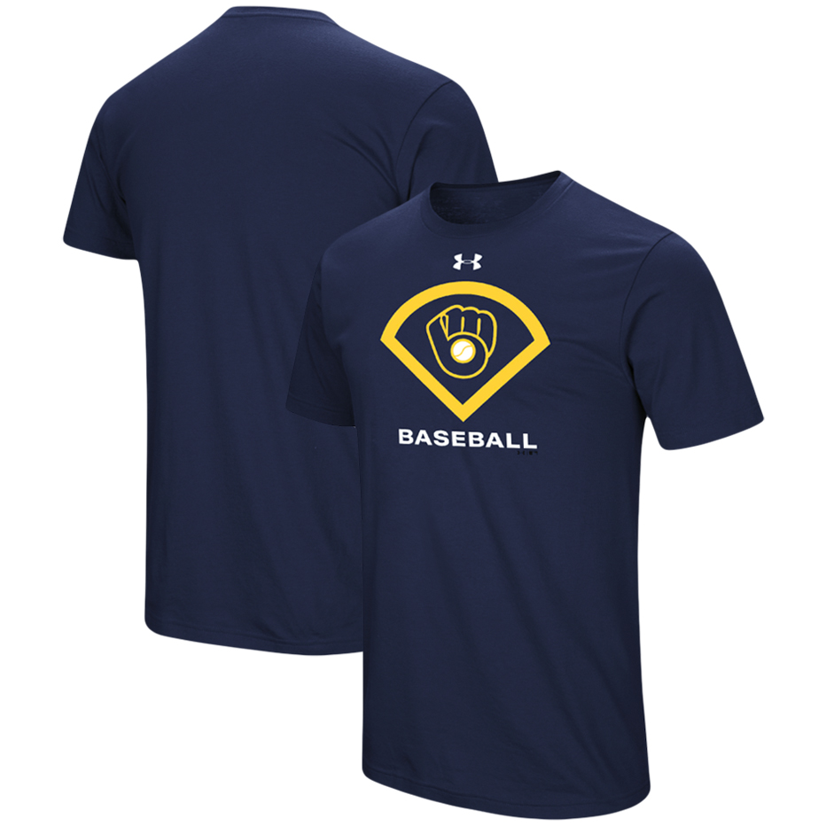 Milwaukee Brewers Under Armour Performance Icon T-Shirt - Navy