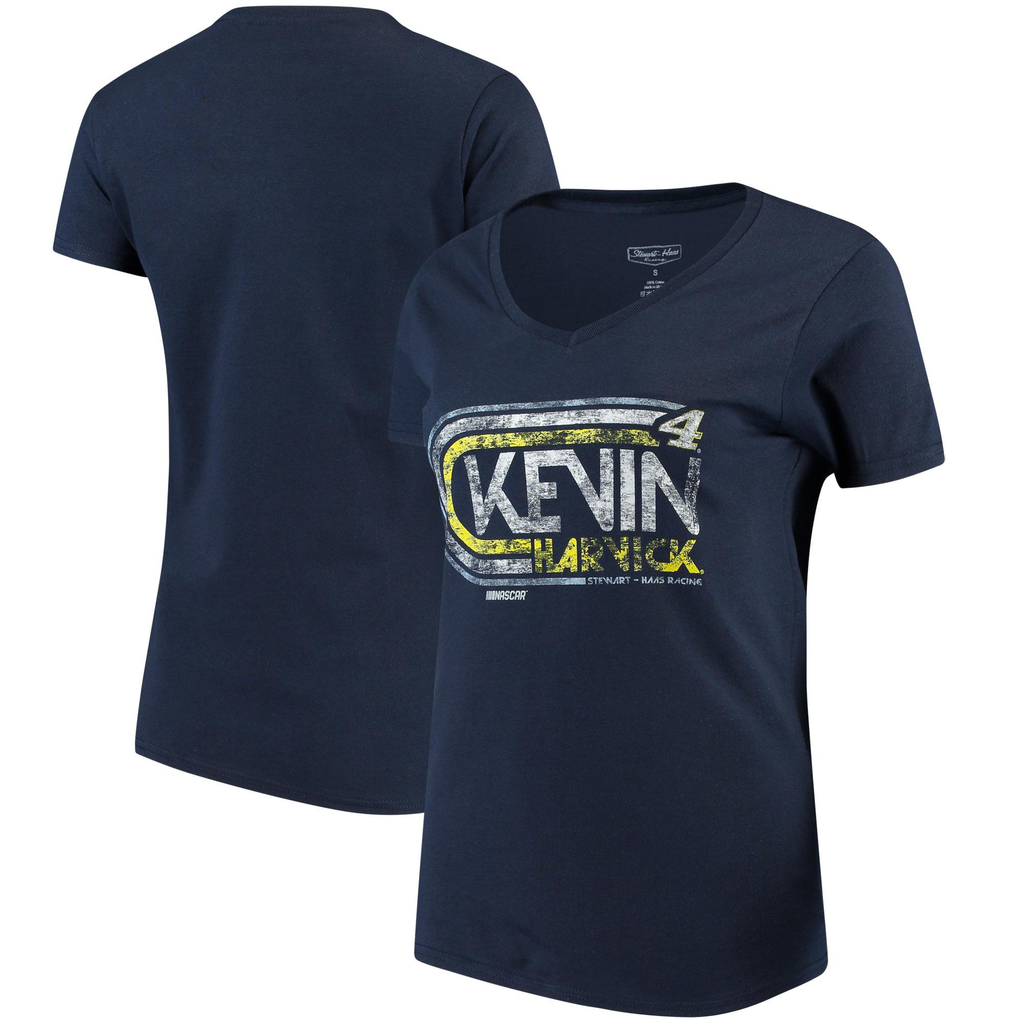 Kevin Harvick Checkered Flag Women's Retro V-Neck T-Shirt - Navy