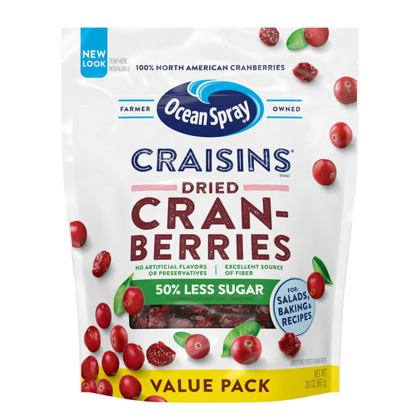 Ocean Spray Craisins Dried Cranberries, Reduced Sugar, 20oz Resealable Pouch