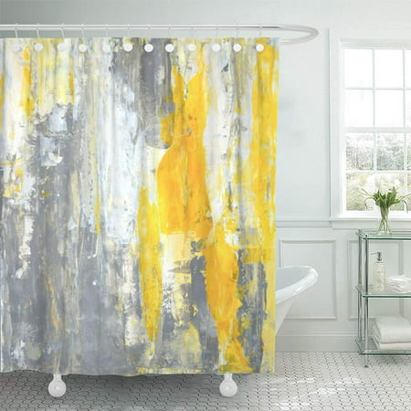 PKNMT Canvas Grey Yellow Abstract Painting Contemporary Gallery Interior Lines Modern Bathroom Shower Curtain 66x72 inch ()
