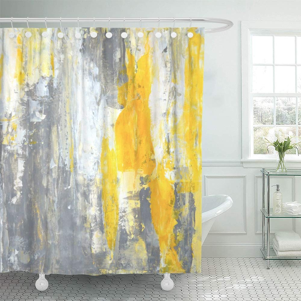 PKNMT Canvas Grey Yellow Abstract Painting Contemporary Gallery Interior Lines Modern Bathroom Shower Curtain 66x72 inch