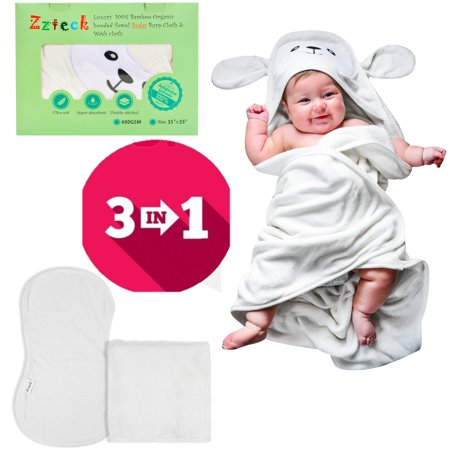 100% Organic Bamboo Baby Hooded Towel Set Bath Towels with Washcloth Burp Cloth Pack Ultra Soft 600 GSM 35 x 35 inch Hypoallergenic 2 X Thick Super Absorbent for Infant, Toddler, Newborn and