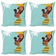 African Throw Pillow Cushion Case Pack of 4, Mother with Her Baby in Clothes Retro Style Fashion Image, Modern Accent Double-Sided Print, 4 Sizes, Turquoise Marigold, by Ambesonne