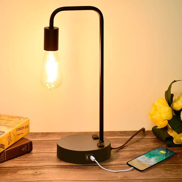 industrial touch control table lamp with 2 usb charging