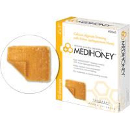 Medihoney Calcium Alginate Dressing with Manuka/Leptospermum Honey 2'' x 2'', Box of