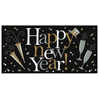Happy New Year Giant Horizontal Banner Black Silver Gold