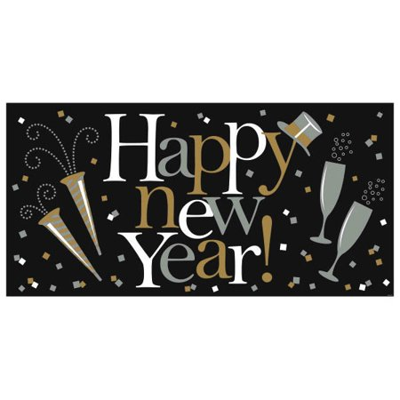 Happy New Year Giant Horizontal Banner Black Silver -